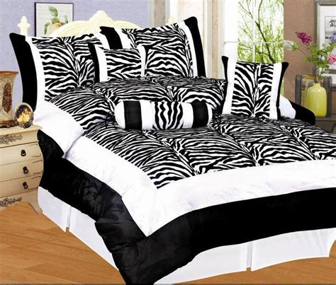 zebra bed set 7 pc flocking zebra bedding comforter set black white