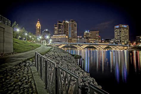 columbus ohio downtown city lights reflecting on scioto