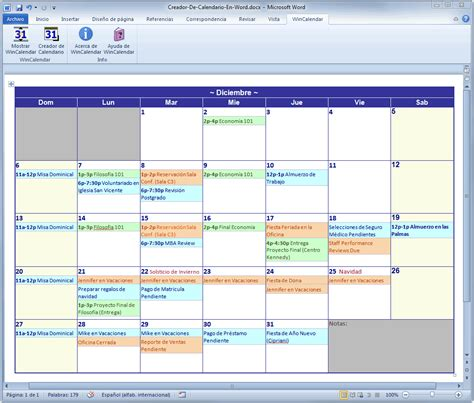 Calendario Word 2017 Creador De Calendario Para Word Y Excel