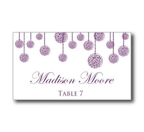 Downloadable Wedding Place Card Templates by Printable Wedding Place Card Template Quot Purple Wedding