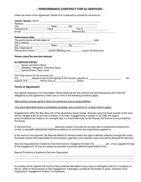 dj service contract template lab order form template quotes