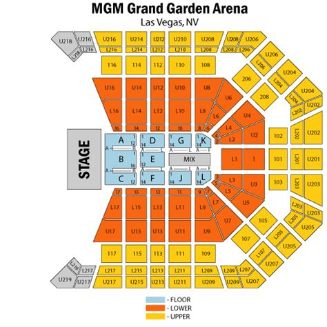 mgm seating mgm grand garden arena seating chart