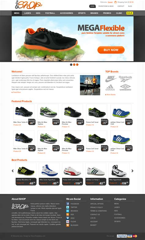 Ecommerce Website Css Template For Sporting Goods Website Css Templates Ecommerce Website Templates Free Html With Css
