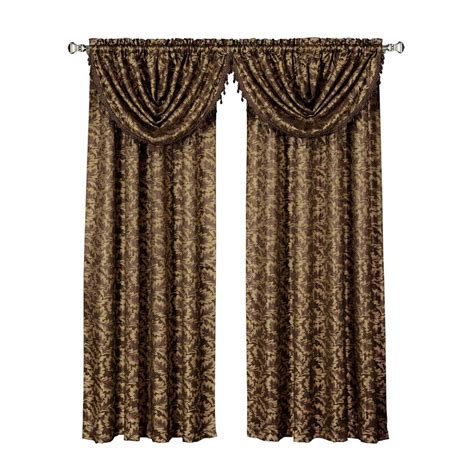 Chocolate Curtains With Valance Window Elements Dawson Shimmering Leaf Chocolate Waterfall Window Valance 19 In W X 44 In L