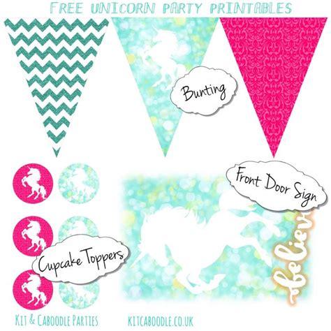 printable unicorn decorations free unicorn party printables kit caboodle parties