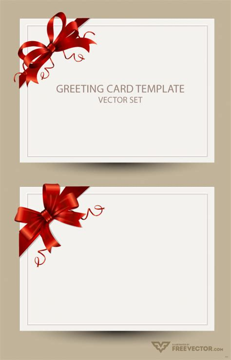 greeting card template simple templates bow preview