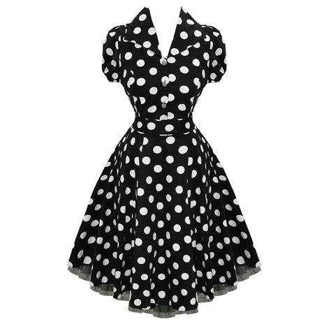 black and white polka dot swing dress hearts and roses london black white polka dot 50s vintage