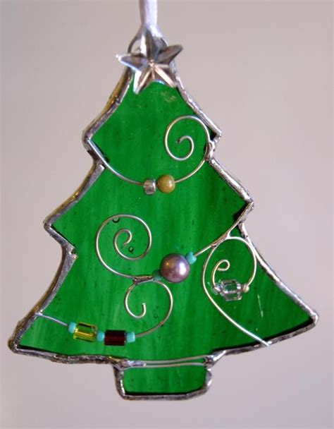 stained glass christmas tree christmas ornament stained