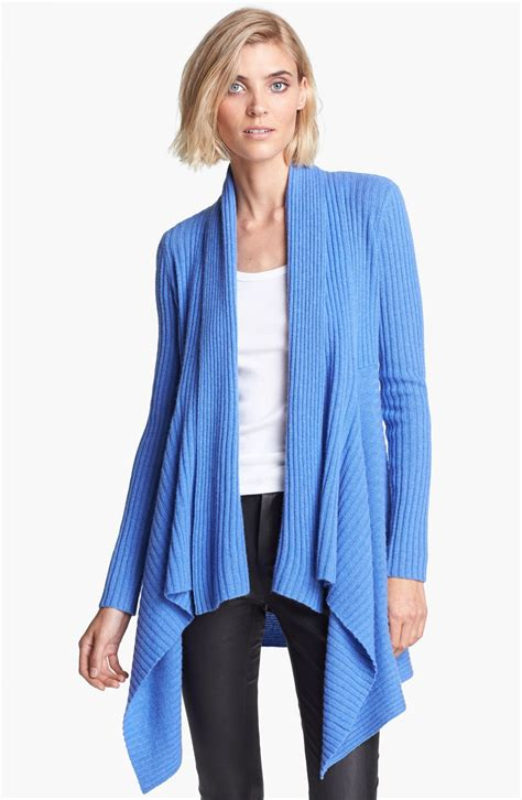 autumn cashmere draped cardigan autumn cashmere draped rib knit cashmere cardigan in blue