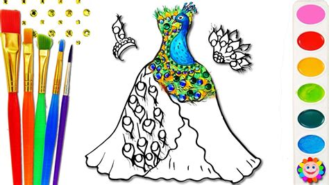 clothes design learning coloring barbie peacock dress for girls how to draw art
