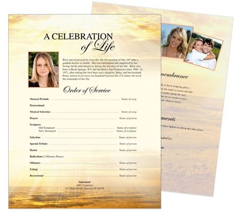 memorial handout template 10 best images about funeral memorial stationary flyer