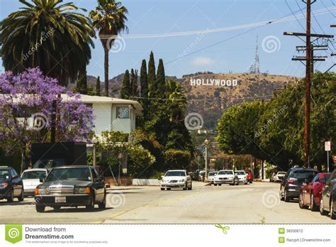 hollywood sign from street view of hollywood sign from the city editorial photography