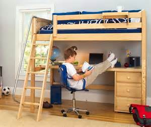 Small Children S Desk Ikea Knockout High Loft Bed With Desk And 1 Drawer In Natural