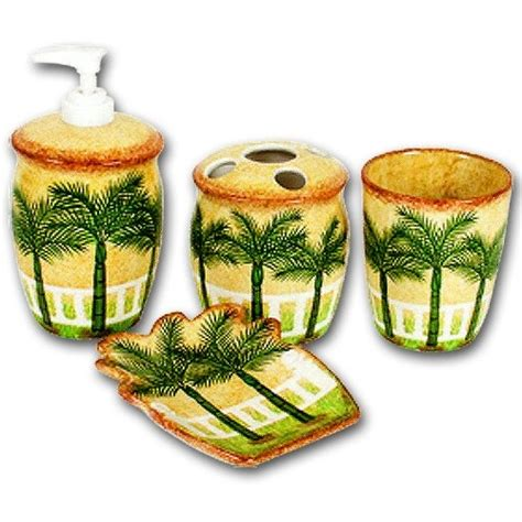 Palm Trees Bathroom Bath Accessories Set 30 00 Home Palm Tree Bathroom Accessories