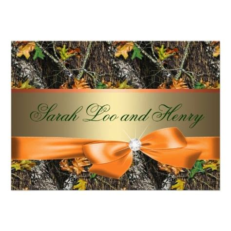 orange formal camo wedding invitation templates for your