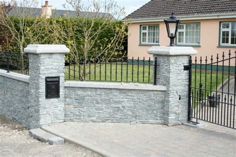 Latest Home Design In Kerala by Stone Gate Posts Entrance Pillars Stone Walls Sngranite Ie