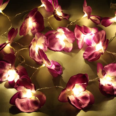 20led Battery Artificial Butterfly Orchid Silk Flower Orchid String Lights