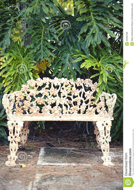 vintage park bench stock image image  metal background