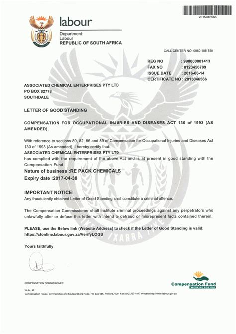 Certificate Of Letter Of Standing Chemicals Laboratory Reagents Lab Ware Filtration Suppliers South Africa Johannesburg