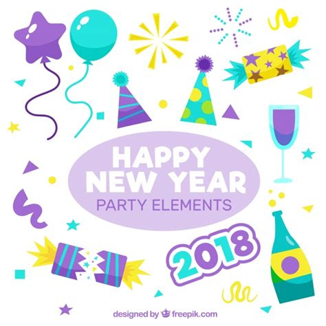 new year elements vector free pack of new year celebration elements vector free