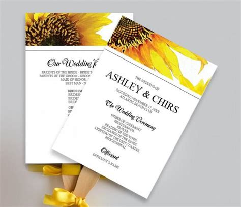 diy wedding program fans template printable yellow sunflower wedding program fan diy