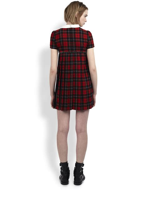 Plaid Collared Dress lyst laurent collared plaid dress in
