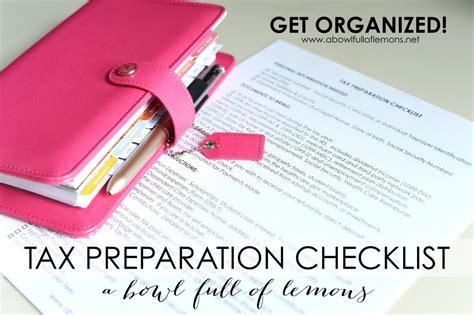 tax preparation tax preparation checklist a bowl of lemons