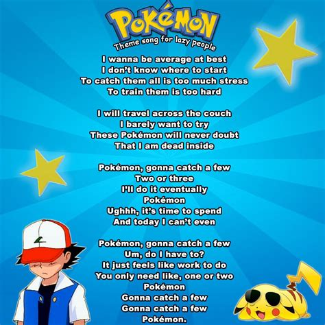 theme songs for pokemon i rewrote the pokemon theme song for lazy people like me