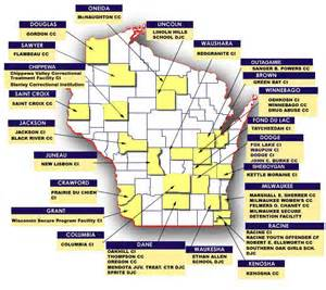 map of prisons correctional centers in wisconsin