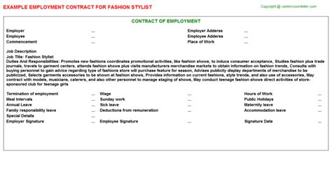 Wardrobe Stylist Contract fashion stylist employment contracts