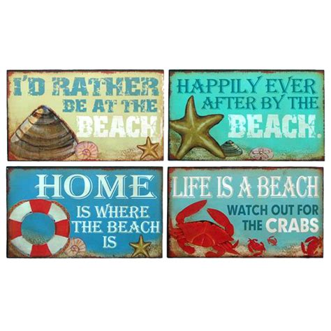 beach signs home decor buy wooden beach theme variety signs 10 inch set of 4 beach decor