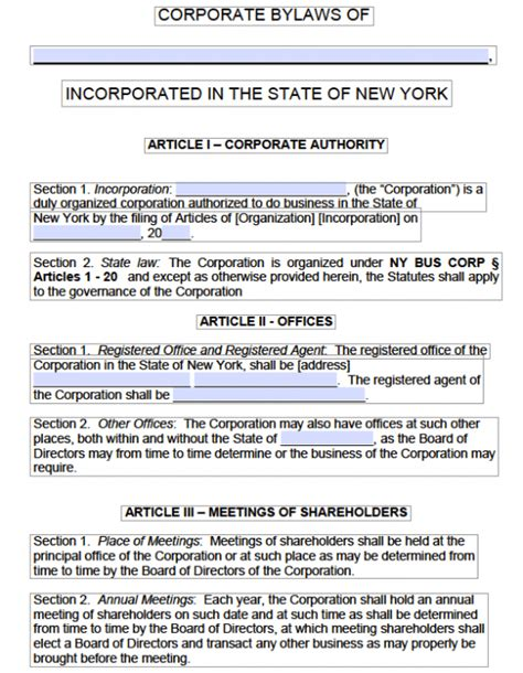 free new york corporate bylaws template pdf word