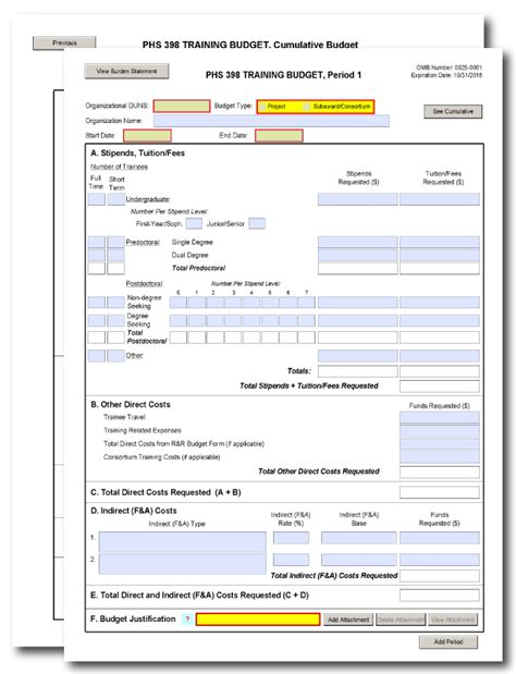 G 330 Phs 398 Training Budget Form Nih Budget Template