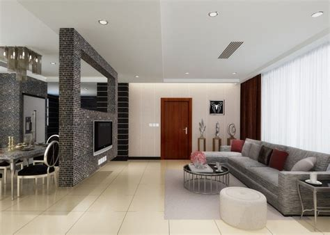 living room partition wall between dinning room and living room brick tv wall