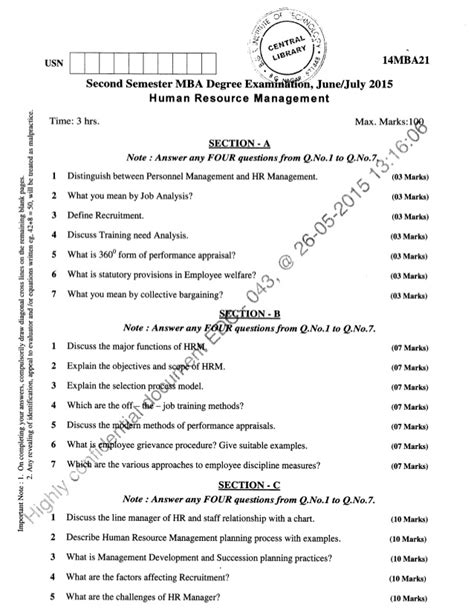Mba 2nd Sem Previous Question Papers Ou by 2nd Semester Mba June 2015 Question Papers
