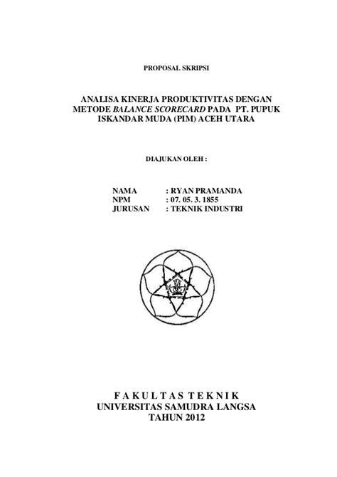 format pengajuan judul skripsi 2 analisa kinerja produktivitas dengan menggunaka metode