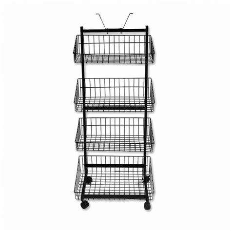 Mobile Display Rack by Black Mobile Display Stand With 4 Baskets