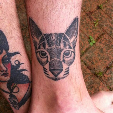 dotwork cat tattoo healed and hairy dot work cat by lauren sutton redwood