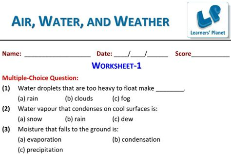 grade 3 evs worksheets on air water and weather quizzes