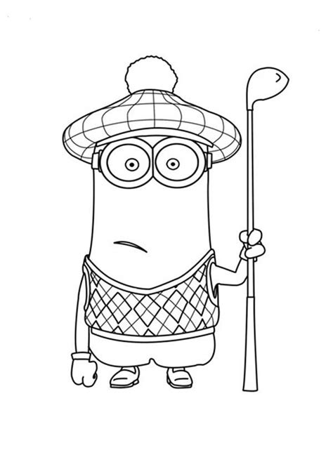 minion golfer coloring page kevin the golfer the minion coloring page printable