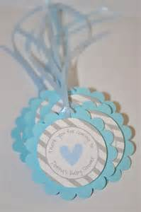 boys baby shower favor tags blue and gray thank you