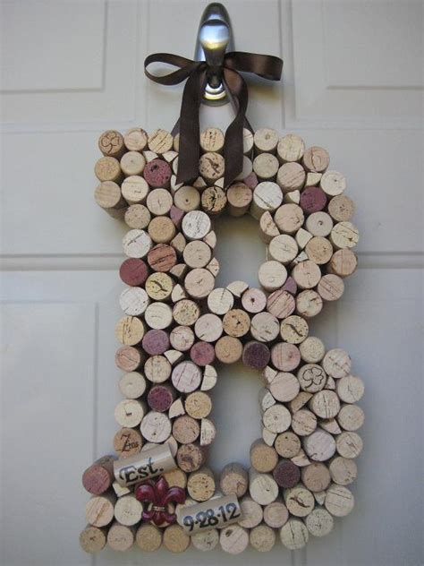 wine cork home decor whimsical wine cork monogram custom letter home decor