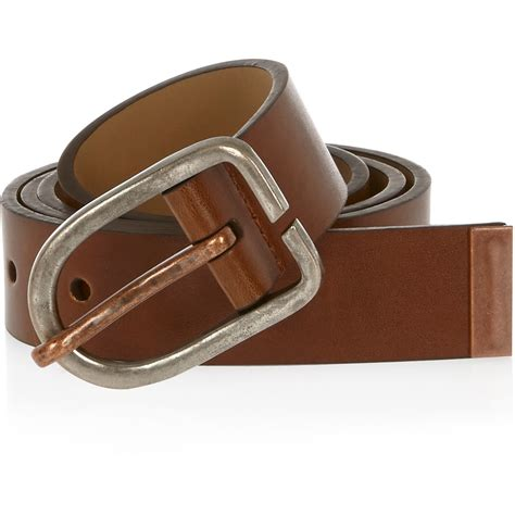 river island light brown gold buckle belt in silver
