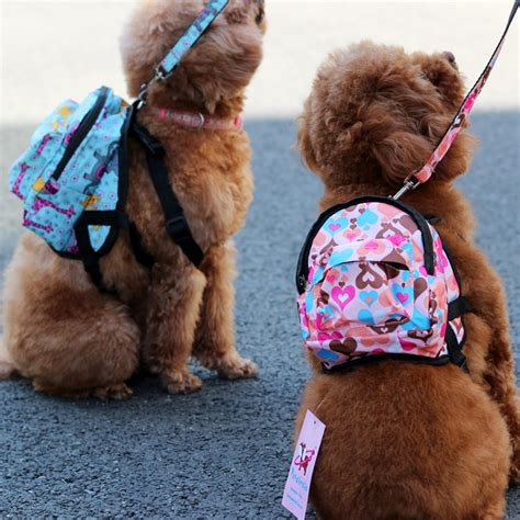 cute dog products nylon heart or flower shop pet dog bags backpacks for