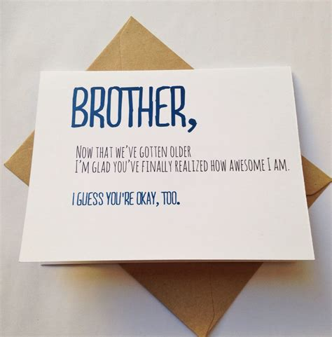 Birthday Cards For Brothers Brother Card Brother Birthday Card Funny Card Card For