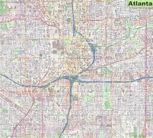 Atlanta Map by Large Detailed Street Map Of Atlanta