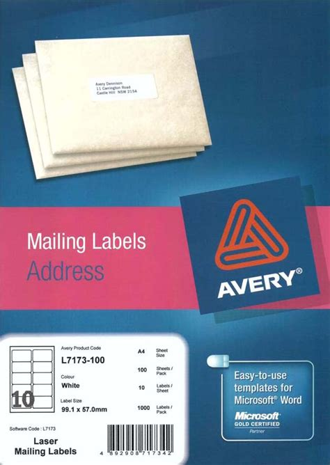 label template for avery l7173 avery 174 white shipping labels with quick peel l7173 100