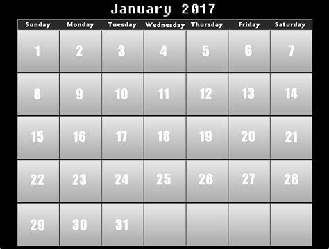 black calendar template calendar 2017 printable calendars of 2017 for