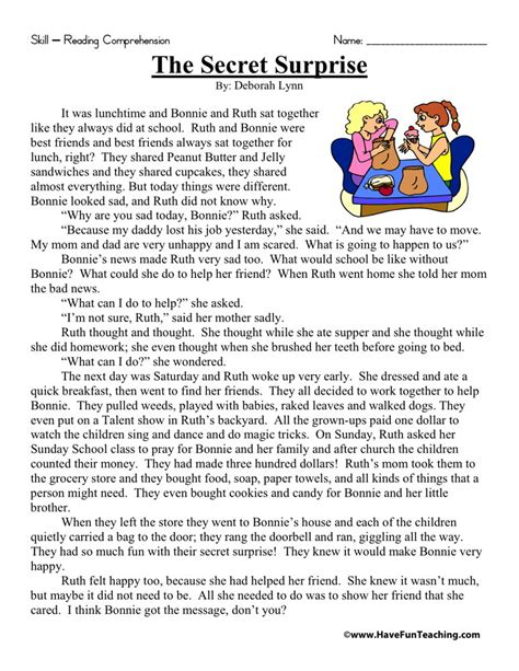 2nd Grade Common Reading Worksheets by Reading Comprehension Worksheet The Secret