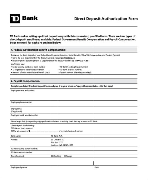 direct deposit form template visualbrains info